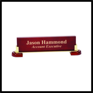 Rosewood Name Bar with Metal