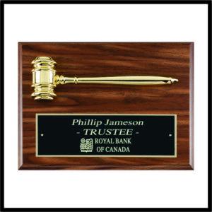 Gavel Plaque - gold gavel