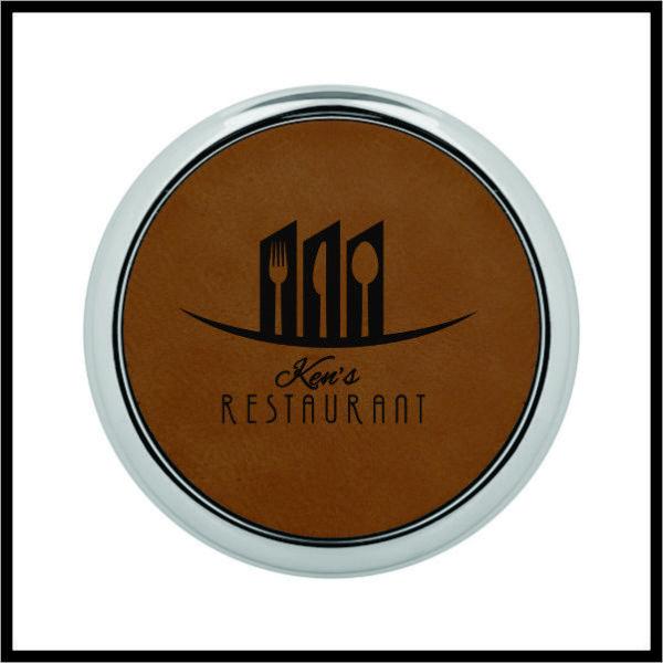 Round Coaster Set - metal rimmed leatherette