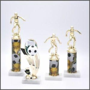 small soccer trophy on sport column
