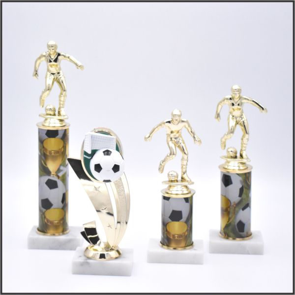 small soccer trophy on sport column