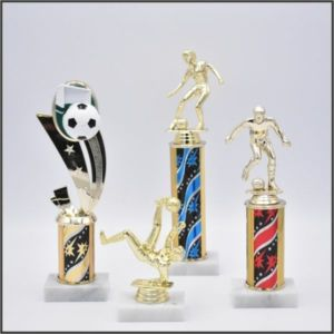 small soccer trophy on starZ column