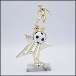 soccer trophy on shooting star riser
